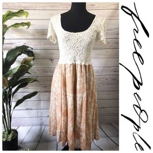 Free People Lace Like Skater Dress Scallop Sleeve